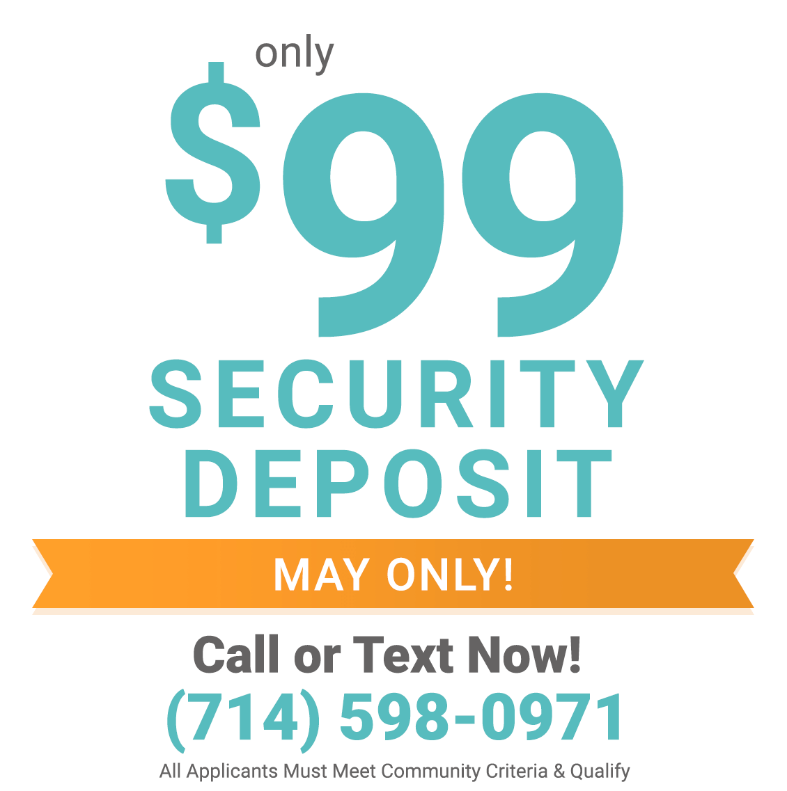 $99 security deposit only during April
