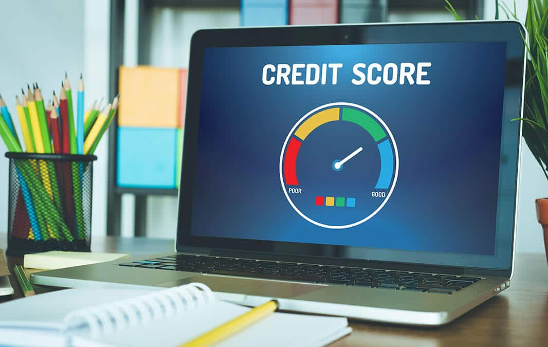 Credit score status showing on the laptop